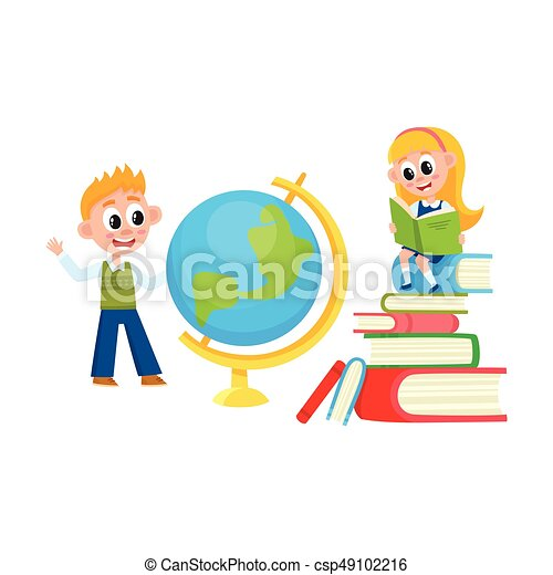 children learn girl reading boy studying globe learning vector rh canstockphoto com girl studying clipart black and white