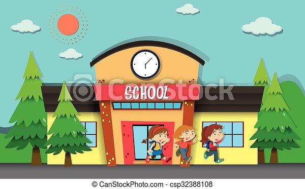 children leaving school in evening illustration vector clipart rh canstockphoto com clipart of a school bus clipart of a school boy