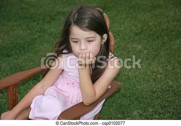 Children Lonely Girl Sad Little Girl Sits In A Chair On