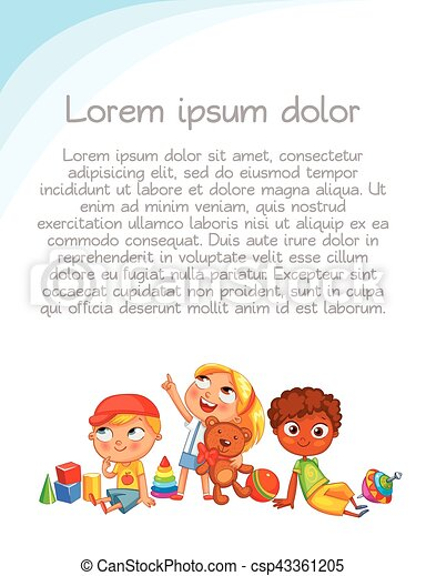 Children look up with interest. Colorful template for advertising brochure - csp43361205