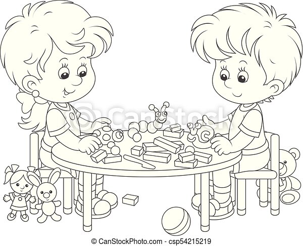 Children making plasticine toys - csp54215219
