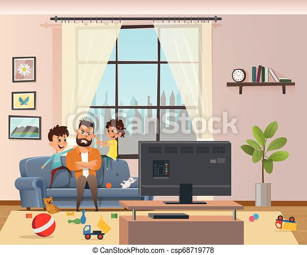 Children Messing Around Tired Annoyed Angry Father - csp68719778