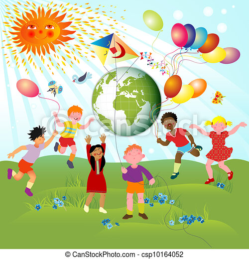 children of different races and planet  joyful planet earth clipart black white planet earth clip art floating in space