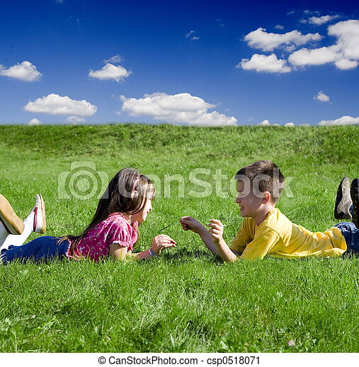 children on a meadow - csp0518071