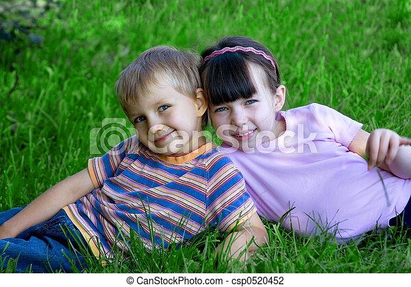 children on a meadow - csp0520452