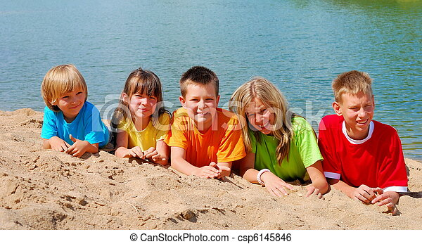 Children on beach - csp6145846