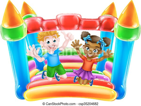 Children on Bouncy Castle - csp35204682