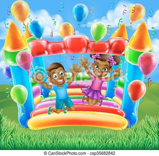 Children on Bouncy Castle - csp35682842