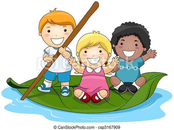 Children on Leaf Boat  - csp3167909
