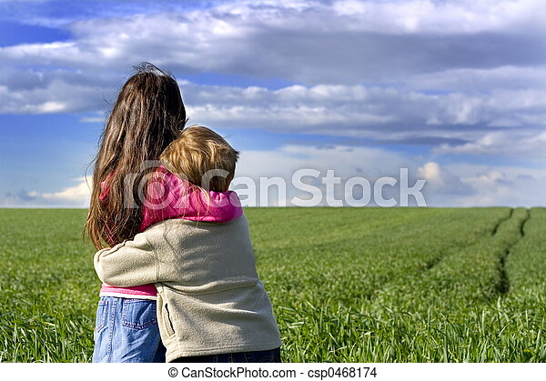 Children on meadow - csp0468174