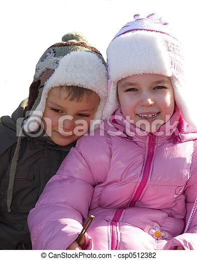 children on snow - csp0512382