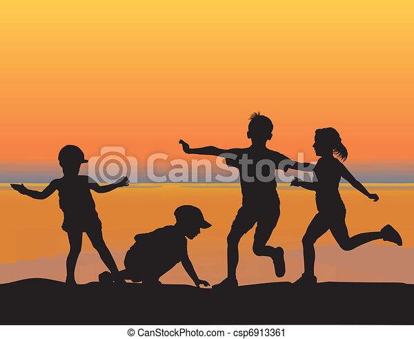 Children on the beach - csp6913361