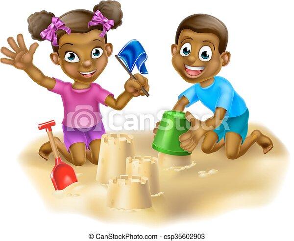 Children on the Beach - csp35602903