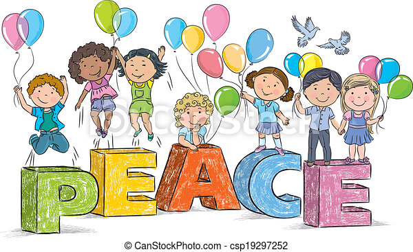 Children on the word peace contains transparent objects clipart children on the word peace csp19297252 voltagebd Choice Image