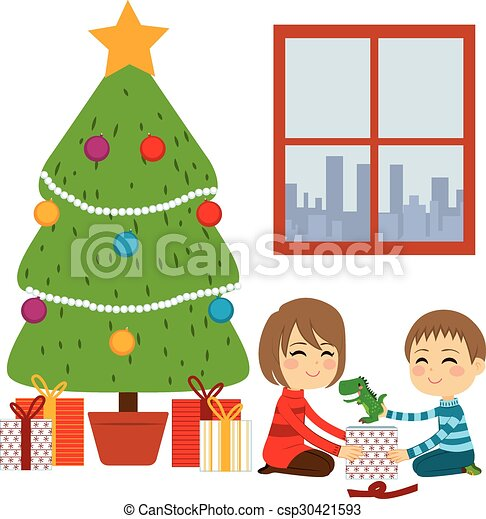 Children Opening Christmas Gifts