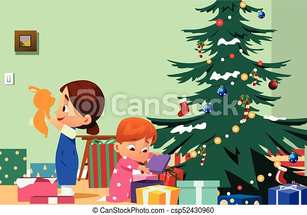 Children opening christmas presents illustration. A vector ...