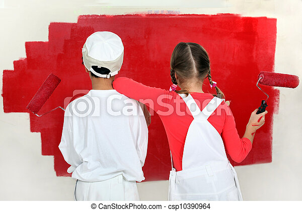 Children painting a wall - csp10390964