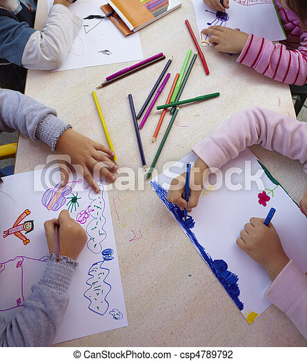 children painting drawing school education - csp4789792