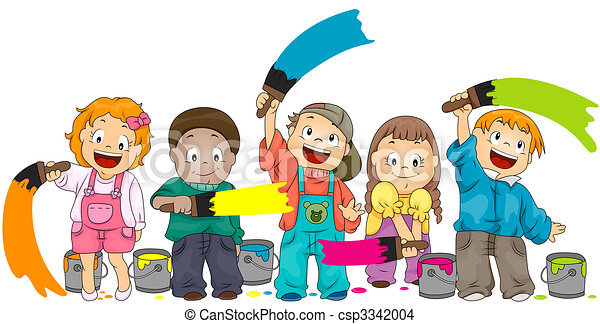 children painting with clipping path - Children Painting Pictures