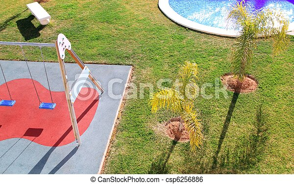 children park garden high viewpoint grass swing - csp6256886