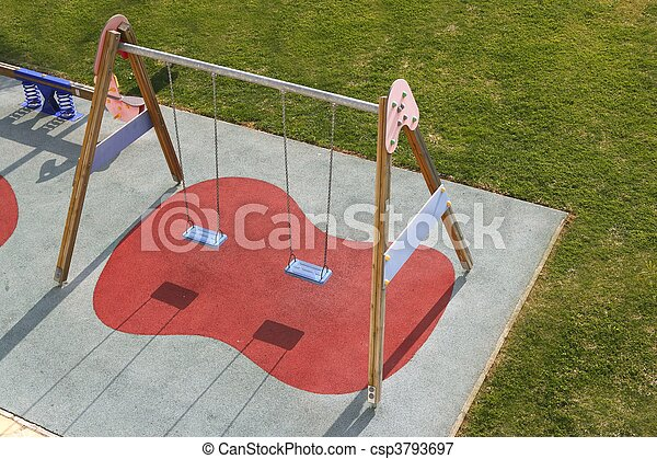 children park swing green grass high view - csp3793697