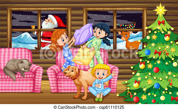 Children pillow fight at night - csp61110125