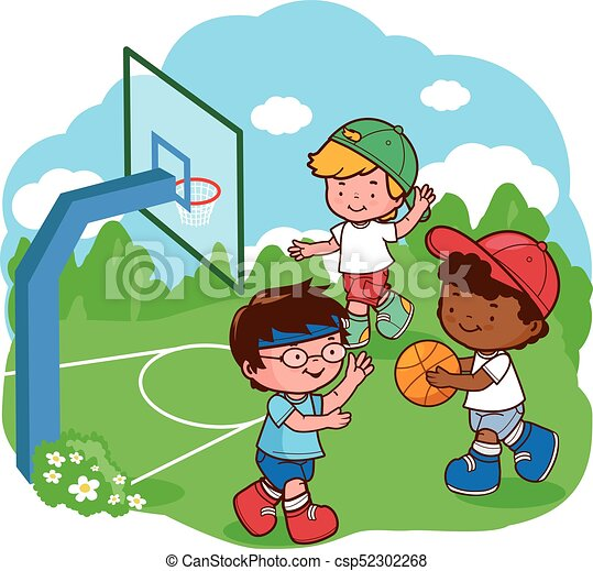 Kid Playing Basketball Clipart