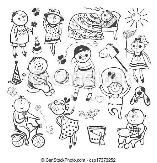Children Play With Toys Black White Sketch Children Playing Vector