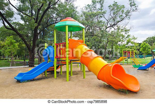 children playground in park - csp7985898