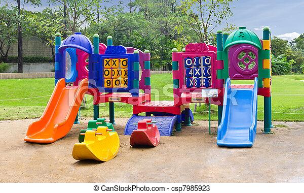 children playground in park - csp7985923