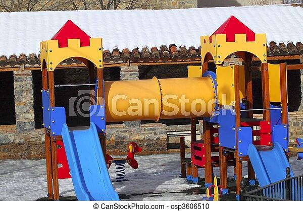 children playground park winter snow iced floor - csp3606510