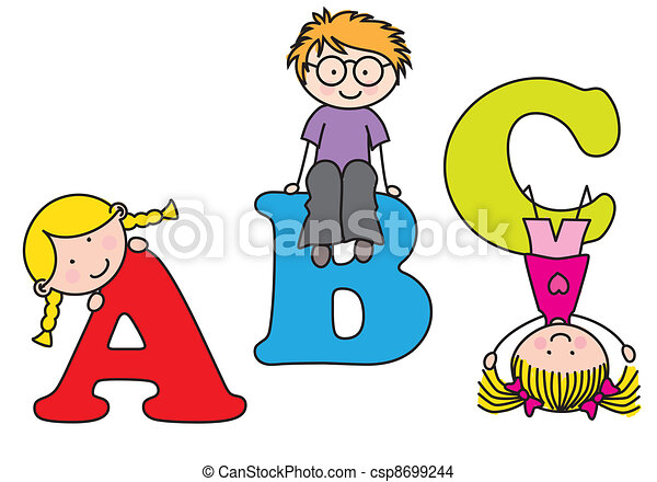 children playing alphabet vector - Alphabet Pictures For Kids