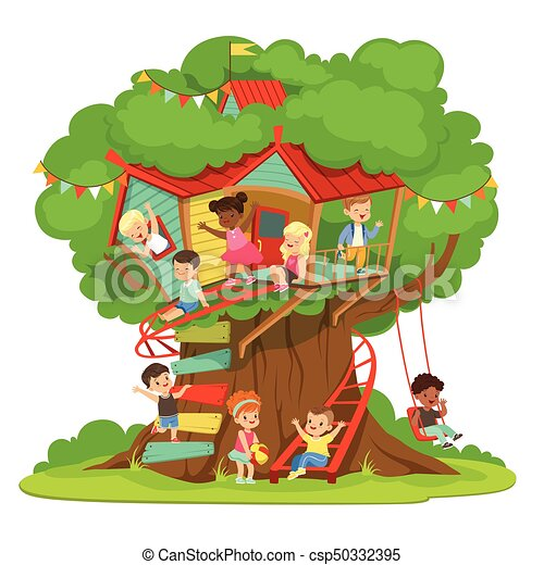 Children playing and having fun in the treehouse, kids playground with swing and ladder colorful detailed vector Illustration - csp50332395