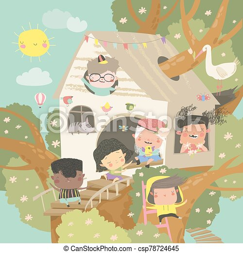 Children playing and having fun in the treehouse - csp78724645