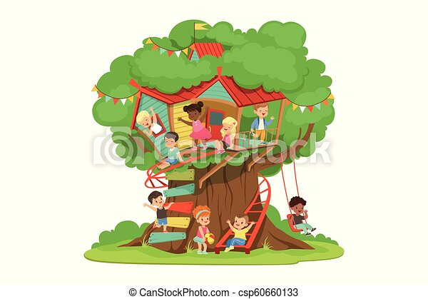 Children playing and having fun in the treehouse, kids playground with swing and ladder colorful detailed vector Illustration - csp60660133