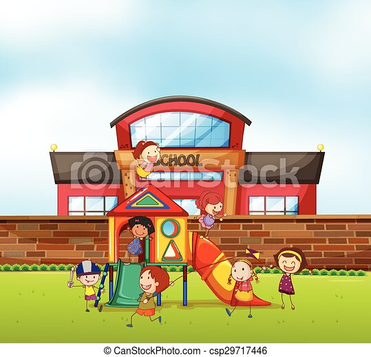 children playing at school playground vector - Images Of Children Playing At School