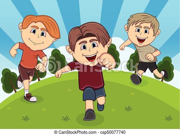 Children playing at the park cartoon - csp50077740