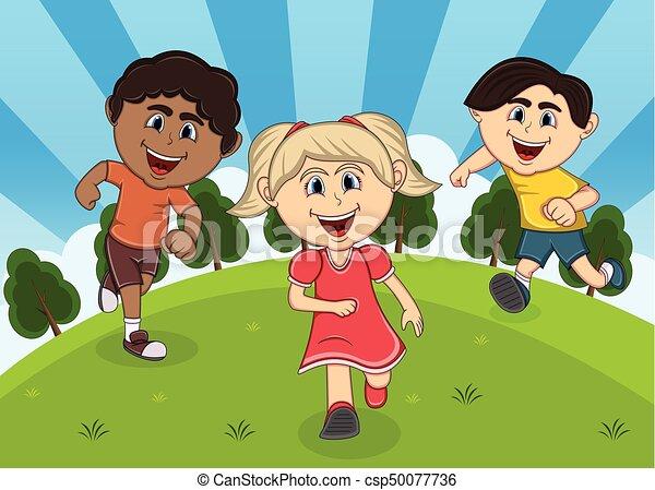 Children playing at the park cartoon - csp50077736