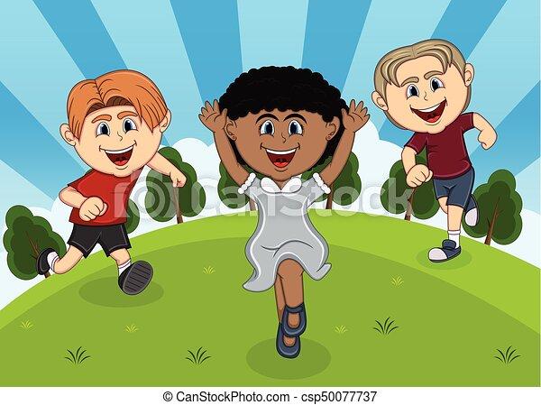 Children playing at the park cartoon - csp50077737