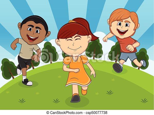 Children playing at the park cartoon - csp50077738