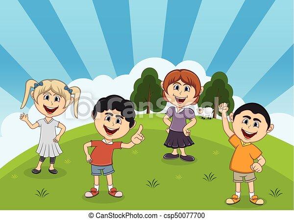 Children playing at the park cartoon - csp50077700