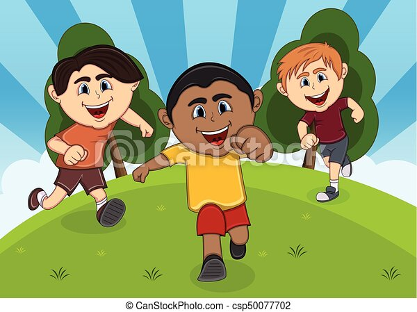 Children playing at the park cartoon - csp50077702