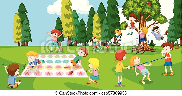 Children Playing at the Park - csp57369955