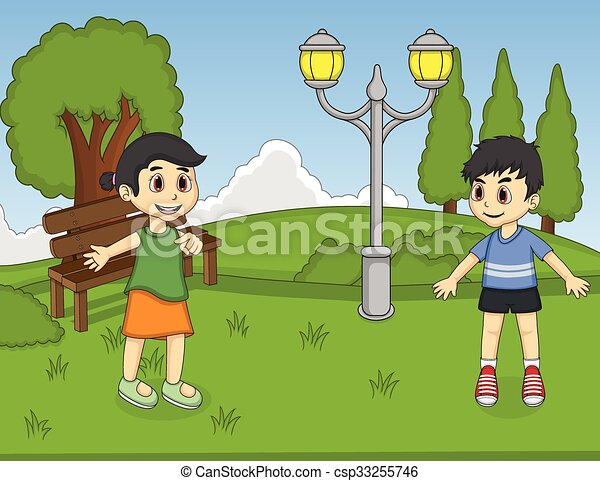 Children playing at the park - csp33255746