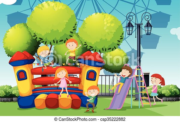 Children playing at the park - csp35222882