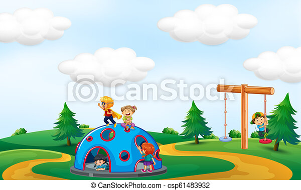Children playing at the park - csp61483932