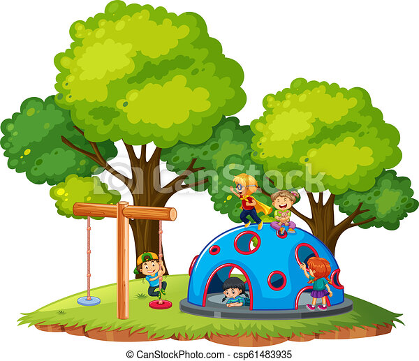 CHildren playing at the park - csp61483935