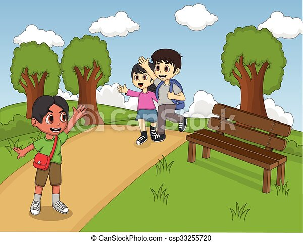 Children playing at the park - csp33255720