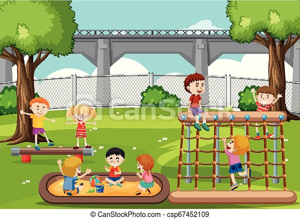 Children playing at the park - csp67452109