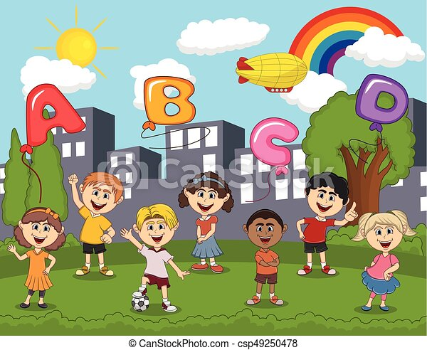 Children playing at the park with letter balloon and rainbow cartoon - csp49250478